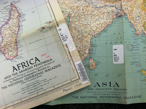 Two of the National Geographic maps we retained during the weeding project.