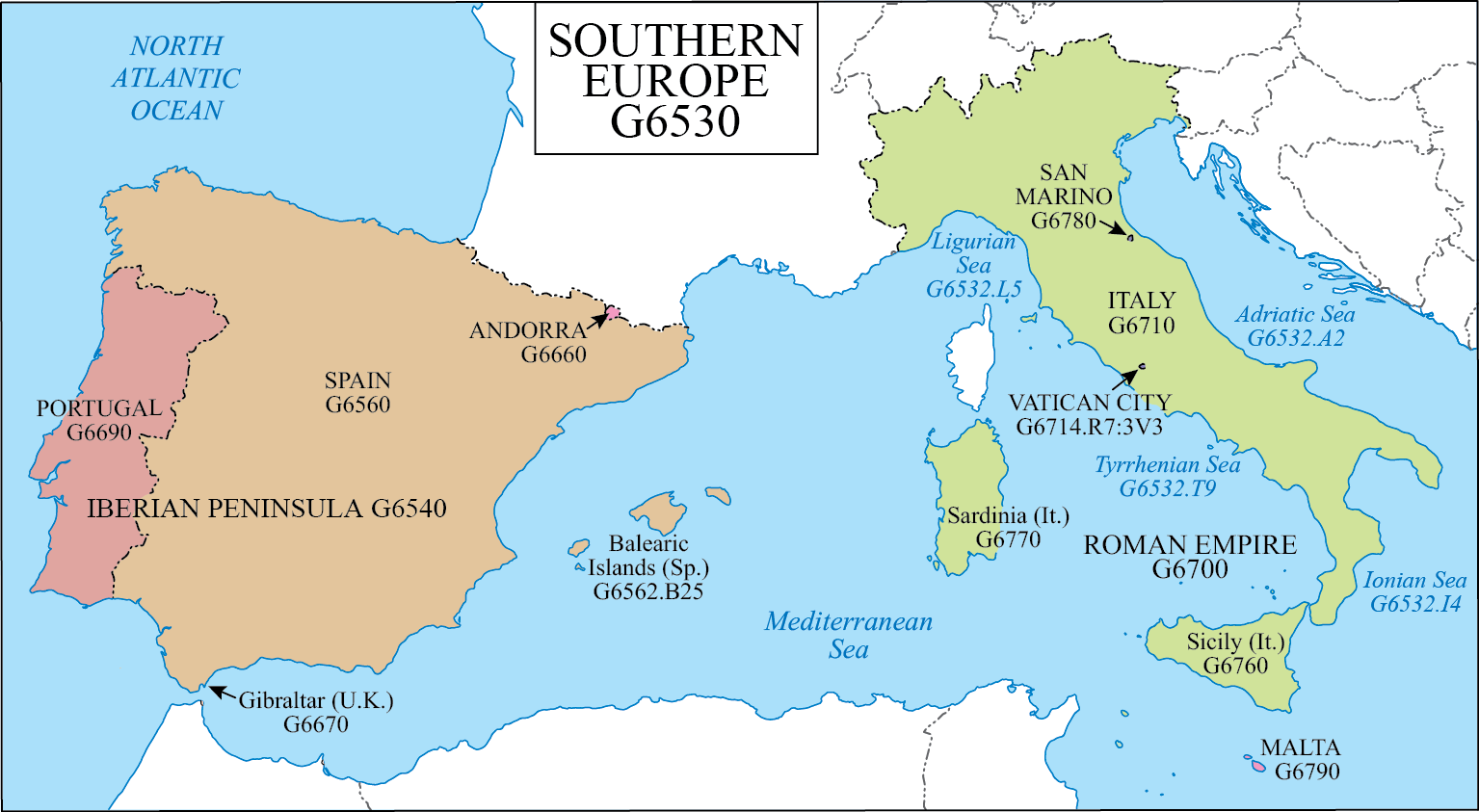 Southern Europe Map LC G Schedule Map 22: Southern Europe | WAML Information Bulletin Southern Europe Map