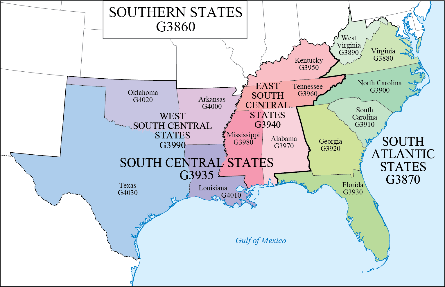 Map Of Southern States LC G Schedule Map 8: Southern States | WAML Information Bulletin Map Of Southern States