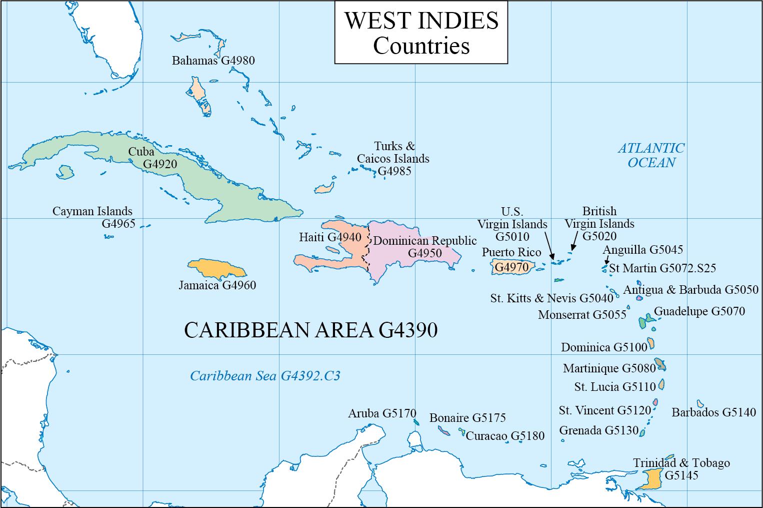 LC G Schedule Map 14: Caribbean Countries | WAML Information Bulletin