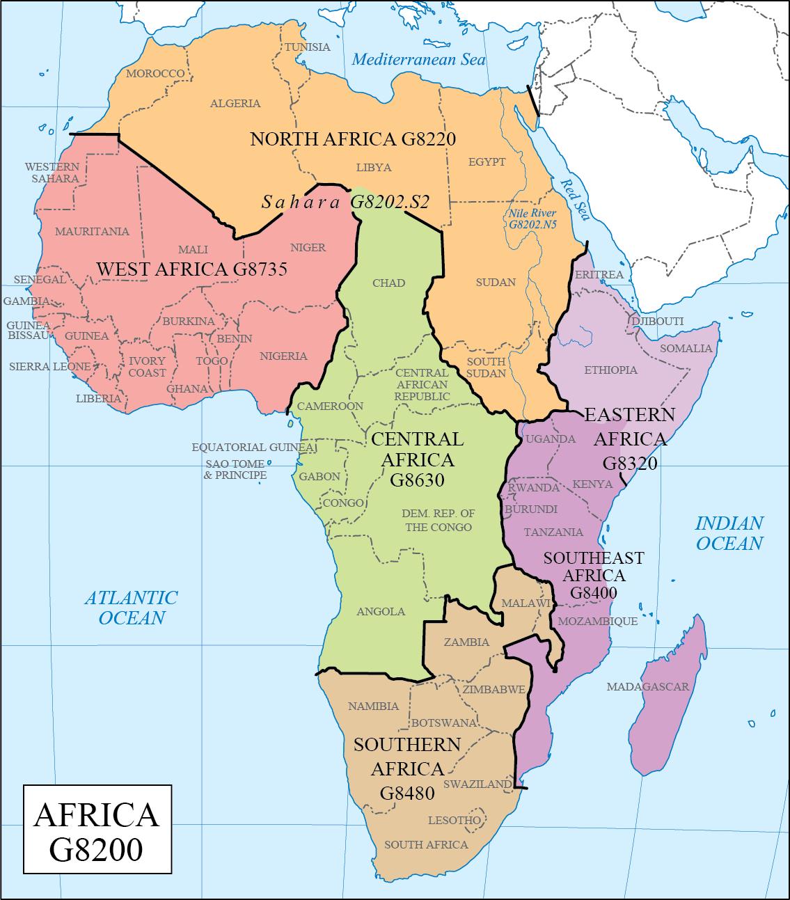 Africa Regions Map LC G Schedule Map 33: Africa Regions | WAML Information Bulletin