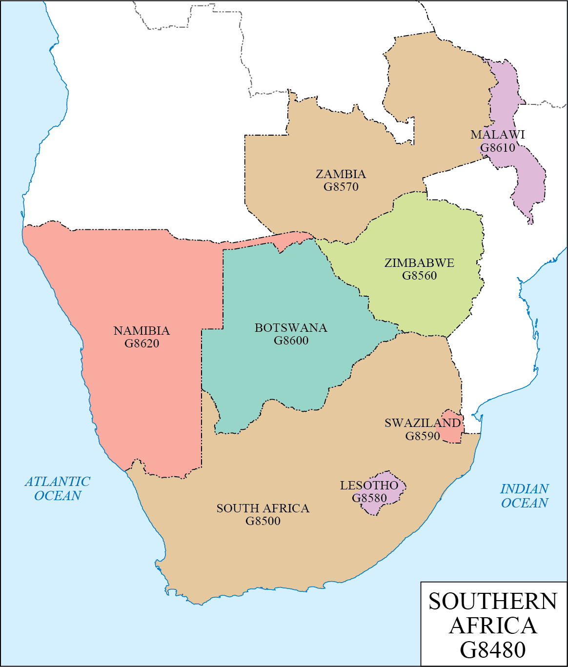 LC G Schedule Map 36 Southern Africa WAML Information Bulletin