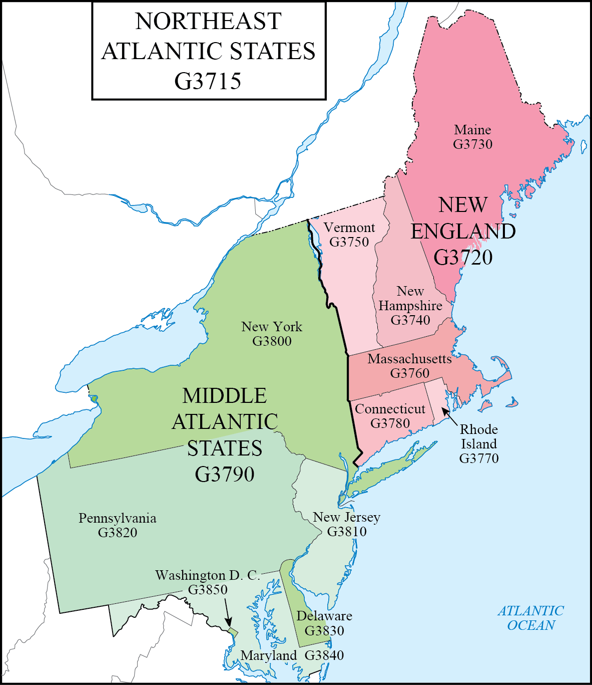 LC G Schedule Map 7: Northeast Atlantic States | WAML Information ...