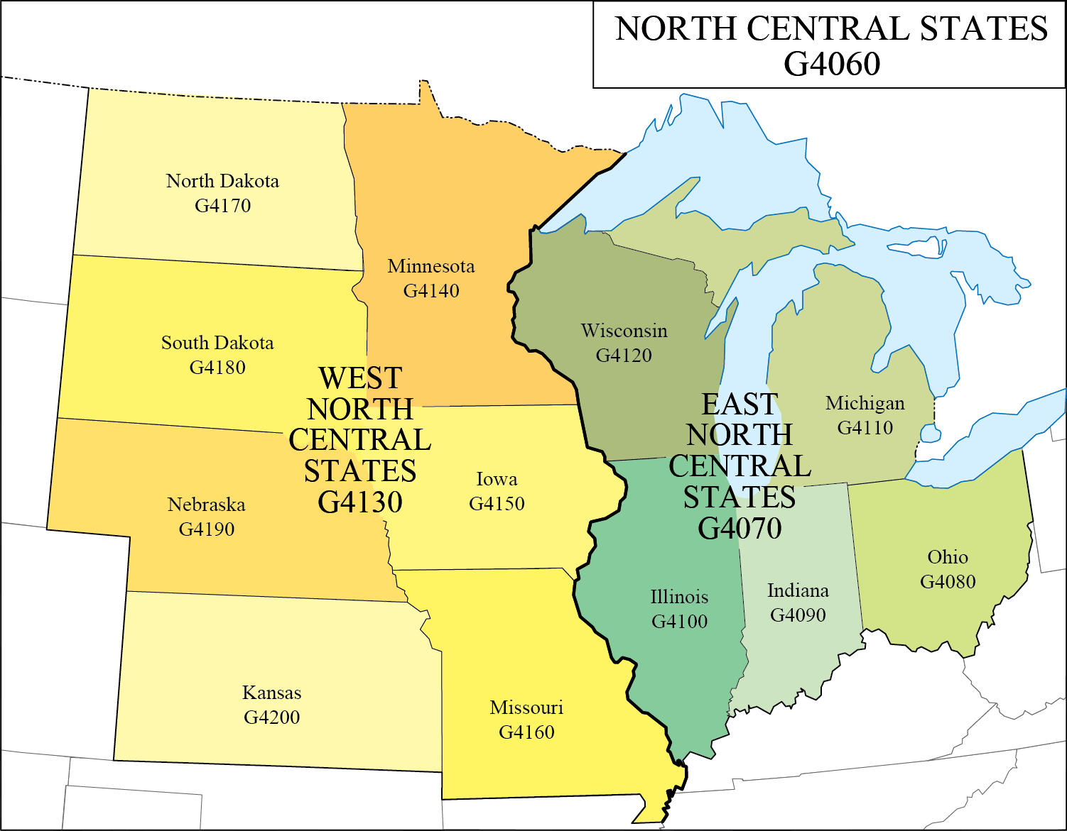 LC G Schedule Map 9: North Central States | WAML Information Bulletin