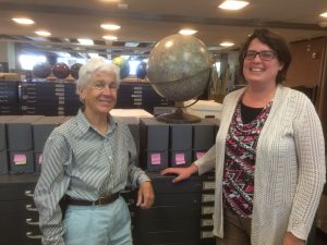 The author (right) with Jane Ingalls and the archive