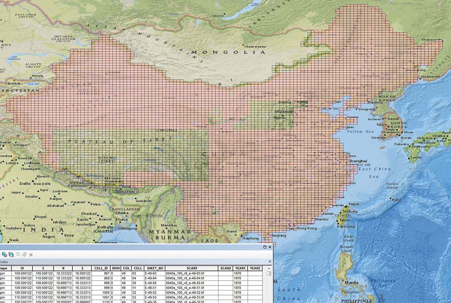 Figure 12: The completed China 1:100,000 digital index map.