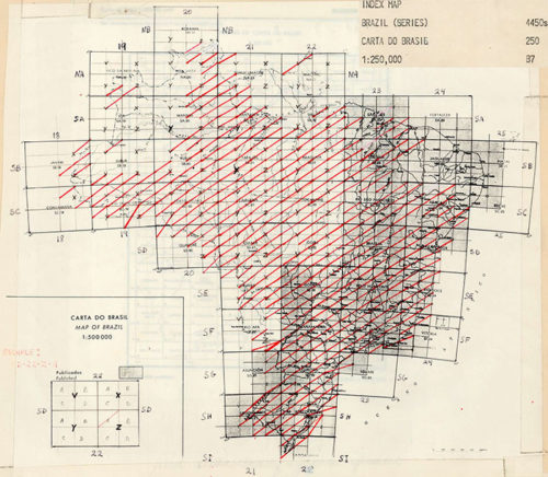 Figure 2. The index map for the Brazil 1:250,000 topographic map set. A red diagonal line through a grid square indicates the paper map is held by the UCSB Library.