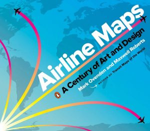 Book cover showing a map of the world with decorative flight path lines